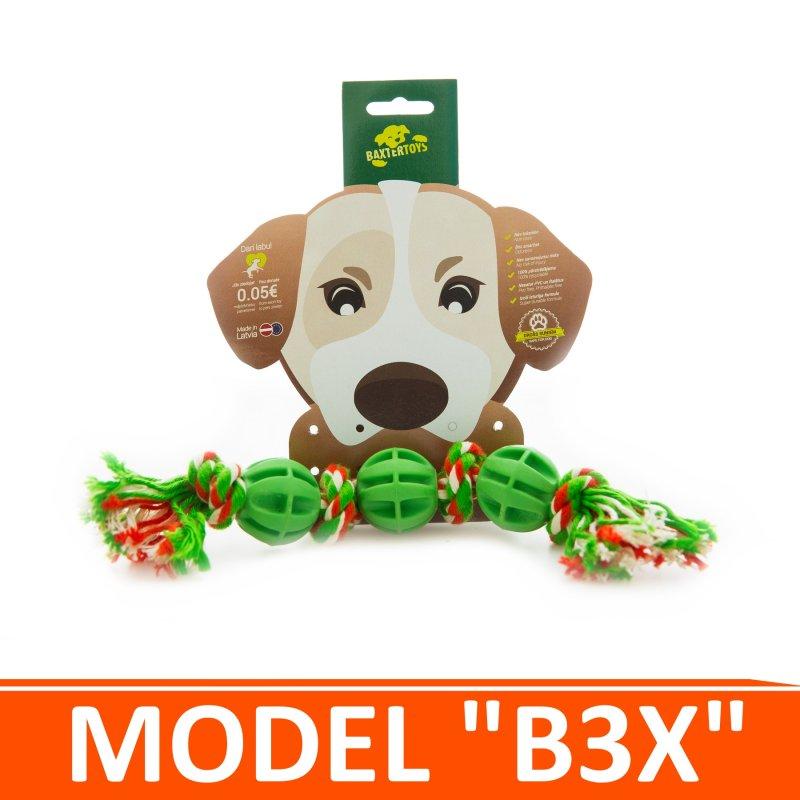 """Купить Игрушка для собак - 3 мячика на канатике с узлами. Модель """"B3X"""""""