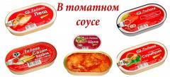 Лещ, сазан, скумбрия, сом в томатном соусе