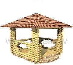 Проект садового домика SD-1 Беседка 3x3 m,конструкции стен из оцилиндрованного бревна (с изготовленными проемами для окон, дверей согласно проекта)