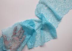 Кружево эластичное голубое, art-1073