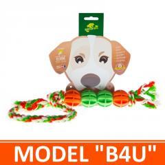 Игрушка для собак - 4 мячика на канатике с петлей. Модель