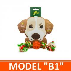 Игрушка для собак - мячик комбинированный с канатом. Модель